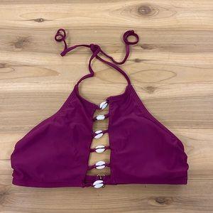 California sunshine pink highneck shell bikini top